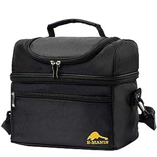 scheda e-manis doppio strato borsa termica borse frigotermica con tracolla rimovibile da picnic borsa da pranzo trasporto cibo per lavoro d ufficio campeggio esterna da viaggio 12l - nero