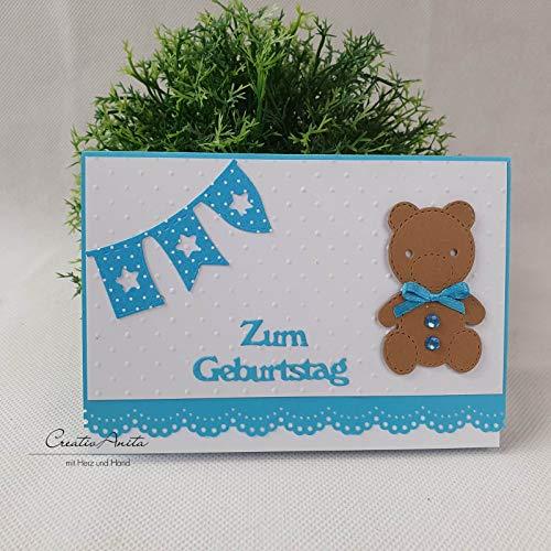 Glückwunschkarte zum Geburtstag Kindergeburtstag mit Teddybär