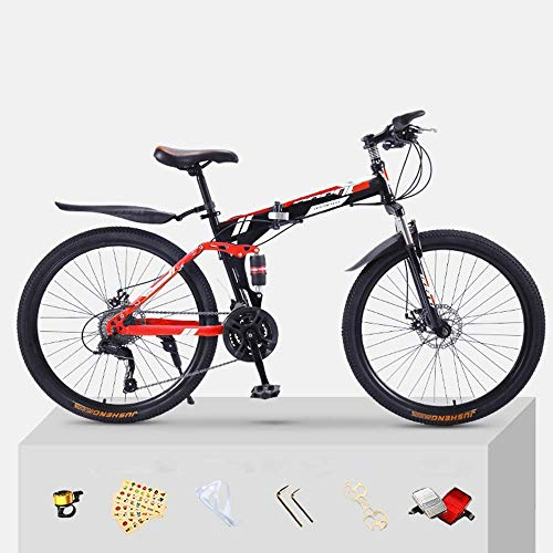 Pliuyb Mountain Bike Folding Bicycle for Adults 20 24 26 inch Double Speed for Off-Road Racing for Boys and Girls (Color : 24speed-24inch)