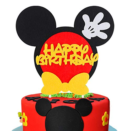 BeYumi Mickey Inspired Birthday Cake Topper for Any Age, Party Cake Decoration Supplies