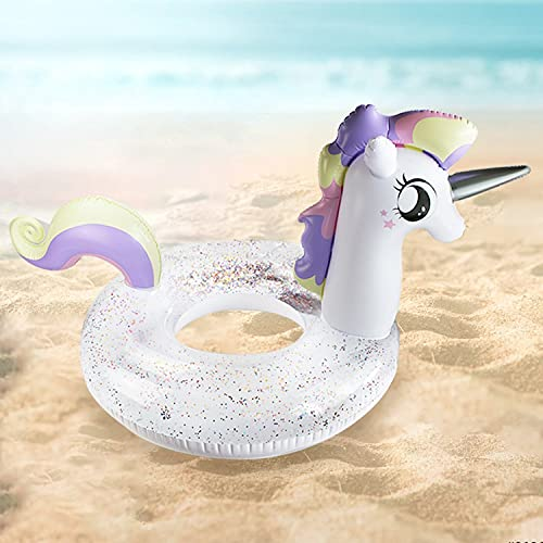 Mopoq Inflatable seaside beach transparent sequins unicorn sequins princess horse swimming ring new pony seat ring water swimming ring (Color : B)