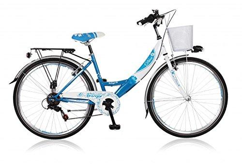 Frank Bikes 26 Zoll Cityrad Cityfahrrad Mädchenfahrrad Kinderfahrrad Citybike City Fahrrad 6 Gang Shimano Diva BLAU Weiss