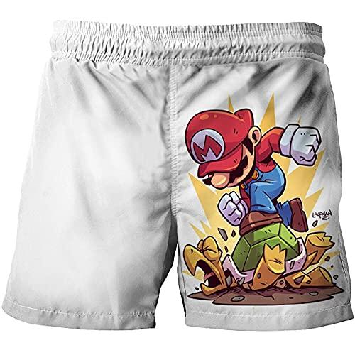 LIYIMING Super Mario - Bañador para playa con estampado 3D, elástico, a la moda, resistente al desgaste, 11, 140