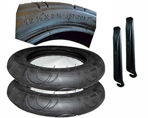 2 Stück Reifen Mantel 12 1/2 x 2 1/4 Zoll DIN 57-203 mit Montagehebel