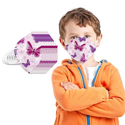 20 Stück Kinder Mundschutz Einweg 5-lagige_Nicht Gewebt mit Motiv Bunt Mund Nasenschutz Cartoon Drucken Tücher Atmungsaktiv Mund-Tuch Bandana Halstuch Schals für Mädchen (Schmetterling)