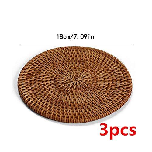 Bieronderzetters Koffie Mat6Stks/Veel Drink Onderzetters Set voor Ronde Ware Pladish Mat Rotan Weave Cup Mat Pad,18Cm3Stks