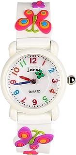 Jian Ya Na Children's Watch Time Teacher Waterproof 3D Cute Cartoon Design Round Dial Silicone Rubber Jelly Color Watch Quartz Wristwatch for Little Girls Boy Kids Children