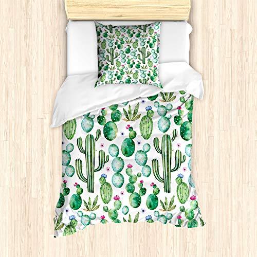 ABAKUHAUS Verde Funda Nórdica, Plantas de Cactus Mexicano, Decorativo, 2 Piezas con 1 Funda de Almohada, 135 x 200 cm, Cal Rosa pálido Verde