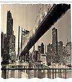 Ambesonne New York Duschvorhang, Queensboro Bridge NYC Night Sepia Kunstdrucke Urban City View Modern Life Theme, Stoff Stoff Badezimmer Decor Set mit Haken, 213,4 cm extra lang, Grau Braun