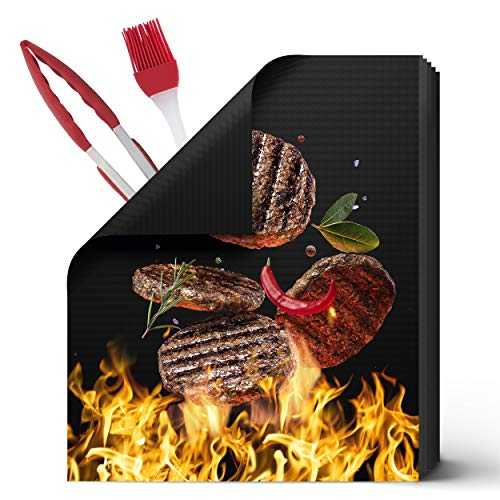 HOMVERGY Grill Mats Set of 5, Reusable, Non Stick, PFOA-Free, Simple Cleaning, Heavy Duty, Approved Materials - Grill Mat for BBQ, Oven with Grilling Accessories