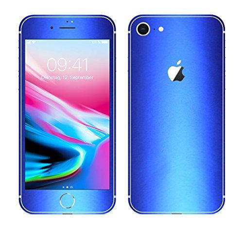 Leuchtkäfer Werbetechnik iPhone 8 BLAU METALLIC MATT Folie Skin ZUM AUFKLEBEN Bumper case Cover schutzhülle i Phone