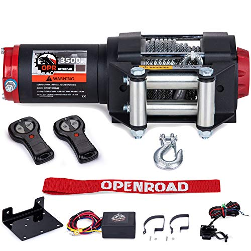 OPENROAD 3500Lbs 12 Volts Electric Winch, Winch for ATV/UTV/Boat, 3500Lbs /1587Kg Electric Winch Kit, with 12m/39ft Winch Cable, Towing Off-Road Electric Winch Recovery kit (3500Lbs Black)