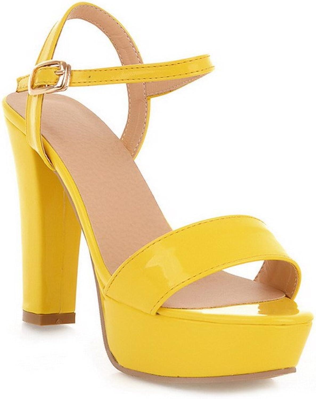 AmoonyFashion Womens Open Peep Toes High Heel Chunky Platform Patent Leather PU Solid Sandals, Yellow, 7.5 B(M) US