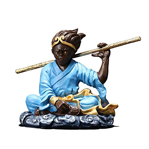 LPQA Estatua Decorativa Estatuas para Jardín Domineering Son Goku Statue Animals Monkey King Arts Sculpture Creative Resin Crafts Car TV Perfume Interior Display Decoration