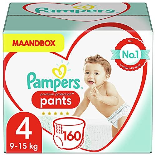 Pampers Premium Protection 81674391 - Pañales desechables nappy Pants para niño/niña 4, Pant diaper, 9 kg, 15 kg, Multicolor, Velcro, 160 piezas