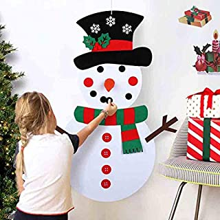 OurWarm DIY Felt Christmas Snowman Game Set with 31pcs Detachable Ornaments, Wall Hanging Xmas Gifts for Christmas Decorations, 39 x 20 Inch