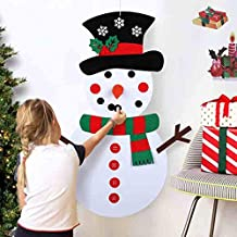 AerWo 19x39 Inches Christmas DIY Felt Snowman Set with 29pcs Detachable Ornaments, Xmas Wall Hanging Games for Christmas D...