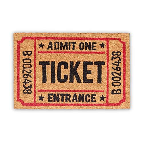Relaxdays Fußmatte Ticket aus Kokos, rutschfest Felpudo, Fibra de Coco, Beige, 40x60x1.5 cm