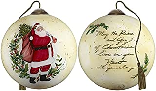 Ne'Qwa Art Hand Painted Blown Glass Peace and Joy of Christmas Ornament, Santa