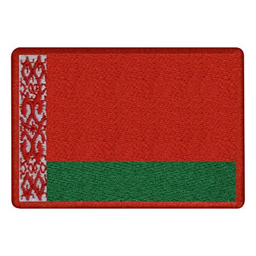 FanShirts4u Aufnäher - WEIßRUSSLAND - Fahne - 8 x 5,5cm - Flagge Wappen Bestickt Patch Badge Belarus (rote Umrandung)