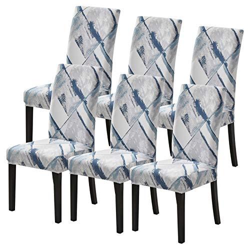 papasgix Fundas para sillas Pack de 6 Fundas sillas Comedor, Lavable Extraíble Funda, Muy fácil de Limpiar, Duradera Modern Bouquet de la Boda, Hotel, Decor Restaurante(Gris/Estilo,6 Piezas)