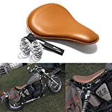 Custom Brown Motorcycle Leather Solo Seat with Spring...
