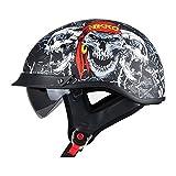 Travel Pillows Casco De Moto Medio Casco Casco De Cara Abierta Cerebro - Gorra Dot + ECE Cruiser Chopper Certificado Patineta Casco De Seguridad Ciclomotor Gafas Incorporadas De LiberacióN RáPida