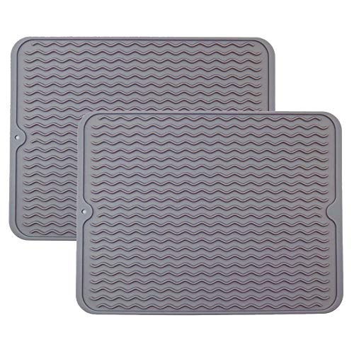 """2PCS Silicone Dish Drying Mats for Kitchen Counter, Heat Resistant Mat, Tableware Bowl Mat - Easy Clean, Store Can be Rolled UP - Grey 15.7"""" X 11.8"""""""