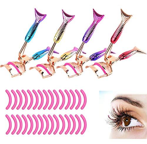 Liuer 4PCS Wimpernzange Meerjungfrau Süßes Muster mit 30 Stück Wimpernzange Ersatzpads Ersatzgummis für Mädchen Frauen Make-up