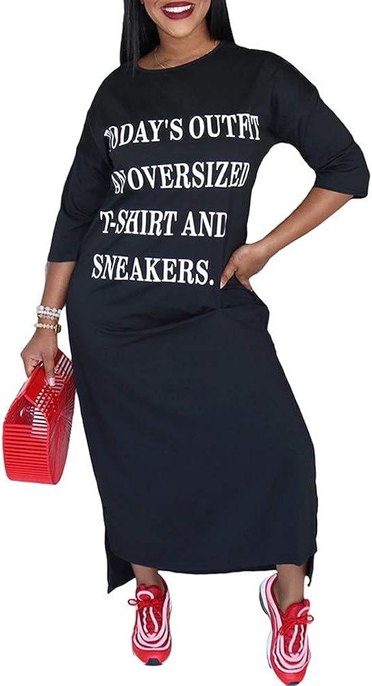 Hou Maxi Dresses for Women Casual Summer - Plus Size Dress Letter Print Short Sleeve Slit Loose Long T-Shirt Maxi Dress