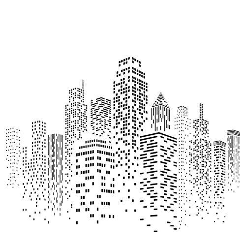 Stencil a forma di grattacielo paesaggio urbano con edifici m riutilizzabile motivo