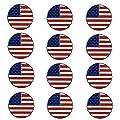 FINGER TEN Golf Ball Markers Assorted Patterns Value 12 Pack Gift, Mark Golf Hat Clip Divot Tool Accessories for Men Women Kids (American Flag)