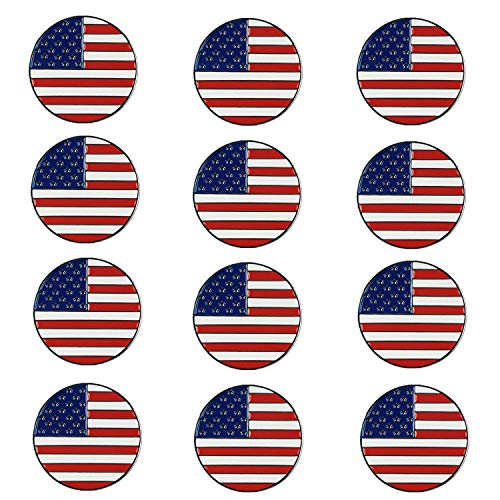 FINGER TEN Golf Ball Markers Assorted Patterns Value 12 Pack Gift, Mark Golf Hat Clip Divot Tool Accessories for Men Women Kids (American Flag)