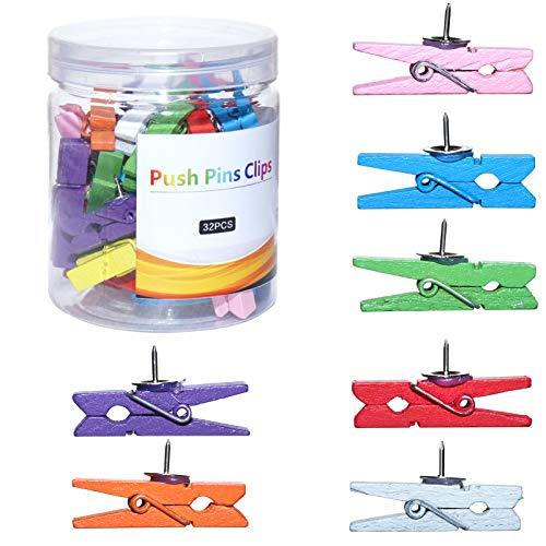 Wood Push Pin Clips, Colorful Push Pins Decorative for Cork Board Bulletin Board Pins Thumbtack Cork Board Offices Accessories (Colorful,32 PCS)