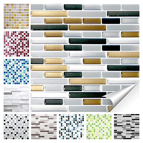 Wandora 1 Piece Tile Stickers 25.3 x 3.7 cm Black White Silver Design 1 I 3D Mosaic Tile Film Kitchen Bathroom Sticker W1536, silver, Design 25 - Copper Dark Grey Silver Brick, 1 Set