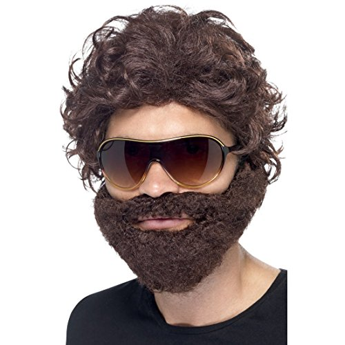NET TOYS Hangover Kit braun JGA Perücke mit Bart und Sonnenbrille Brauner Vollbart mit Haaren Stag Do Barthaare mit Haaraufsatz Junggesellenabschied Zubehör