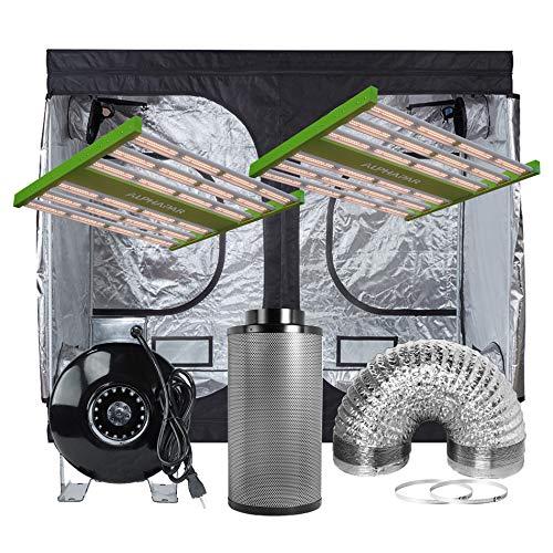 "Prime Garden 300W (2 Pack) ALPHAPAR Sunlike Professional Full Spectrum LED Grow Light Fixture + 120""x60 x80 600D Mylar Grow Tent + 8' Fan Filter Combo for Indoor Growing Hydroponics Complete Kit"