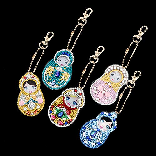 Porta-chaves com pintura Taidda Diy, joias para presentes em forma de boneca de desenho animado, chaveiro enfeite, chaveiro completo para crianças estudantes