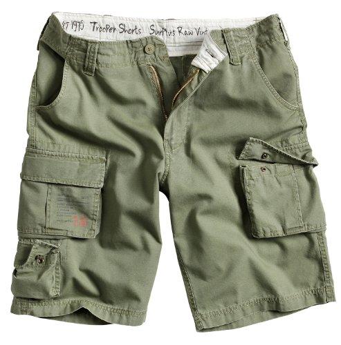 Surplus Raw Vintage Herren Cargo Trooper Shorts, Oliv, XXL