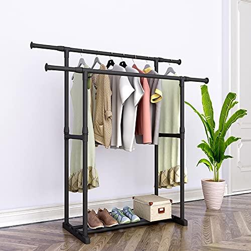 PPuujia Perchero independiente, doble percha con marco de acero reforzado, para ropa de dormitorio, muebles de secado móvil, percha minimalista (color: 150 cm con rueda)