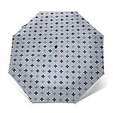 Paraguas Plegable Automático Impermeable Moderno de Mediados de Siglo 16,Paraguas De Viaje Compacto A Prueba De Viento, Folding Umbrella, Dosel Reforzado, Mango Ergonómico