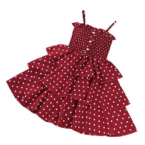 sunnymi Sommer Bekleidungssets für Baby Mädchen,2-8 Jahre Kleinkind Kind Baby Mädchen Tupfen Druck Hosenträger Ärmelloses Prinzessin Kleid