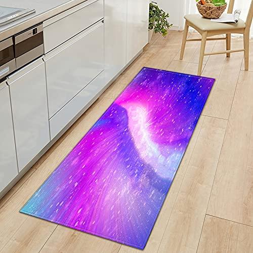 Alfombra de Puerta de Entrada de decoración del hogar, Alfombra de Piso de Cocina de Cielo Estrellado de impresión 3D, Alfombra Absorbente Antideslizante de baño A7 60x180cm