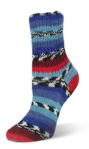 Neu 2017! 100g Flotte Socke Seide-Merino - Farbe: 4002 - blautöne/ rot - Hochwertige, sehr weiche Sockenwolle mit Seide und Merino, aber trotzdem Waschmaschinenfest.