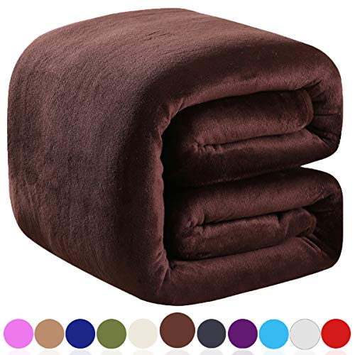 Richave Polar Fleece Blankets Twin Size Brown for The Bed Extra Soft Brush Fabric Super Warm Sofa Blanket 66' x 90'(Chocolate Twin)