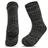 Xelay 4.7 Tog Rating Mens Fleece Lined Thermal Slipper Socks Cold Weather Heat Warmth Insulated Thick Anti Slip Grippers Multi Striped Winter Socks UK 6-11 (Grey Stripy, 1 Pair)