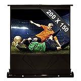 FrontStage QSFC-100 Boden-Leinwand Beamer Leinwand für Heimkino (200 x 150 cm, 254 cm Bilddiagonale, 100 Zoll, extrem schneller Auf- und Abbau, Zwei Standfüße, transportabel) schwarz