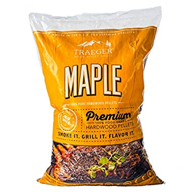 Traeger PEL308 Grills Maple 100% All-Natural Hardwood Pellets - Grill, Smoke, Bake, Roast, Braise, and BBQ (20 lb. Bag)