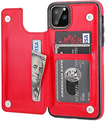 CPBY Adecuado para la Cubierta Protectora de la Cartera Negra de iPhone 11 Pro Máx, Red