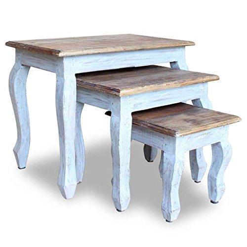 Luckyfu Questo 3 Pz Set Tavolini a Incastro in Legno Massello di Recupero.in Grado di Usare Come tavolino da Caffe, Un Comodino, Un tavolino, etc.tavolini Salotto tavolini Soggiorno